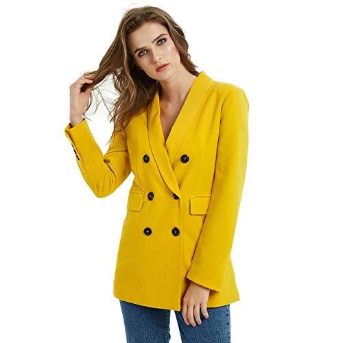 WHBDFY Merk Roze Geel Kleur Pak Blazer Jas Vrouwen Mode Lange Mouw Jas Vrouwen Elegante Double Breasted Jas Suits Vrouwelijke Dames S JK01