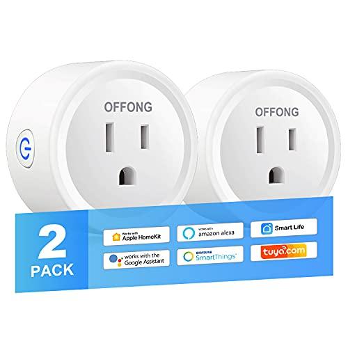 Homekit Smart Plug, Pro Model, WiFi Mini Outlet Work with Apple HomeKit, Siri, Alexa, Google Assistant, SmartThings, Tuya, Voice & Remote Control, Timer, No Hub Required, 2Pack, MFi
