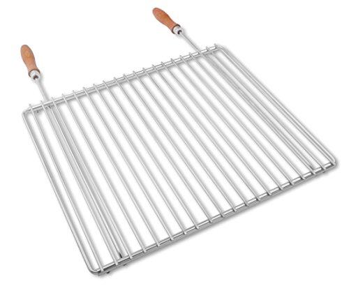 Edelstahl Grillrost mit verstellbarer Breite 45-55X37cm aus Europäischem Edelstahl mit Holzgriffen, Verstellbarer Grillrost, Grillrost Ausziehbar