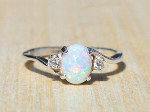 YABINA Zircon White Fire Opal Ring Jewelry Silver Color Wedding Rings for...
