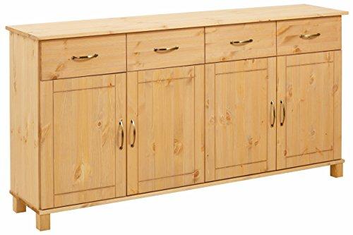 Loft24 Pasha Sideboard Kommode Landhaus Schrank Schubladenschrank Esszimmer Küche Anrichte Kiefer massiv 156x34x77 cm 2 Schubladen 4 Türen gebeizt geölt
