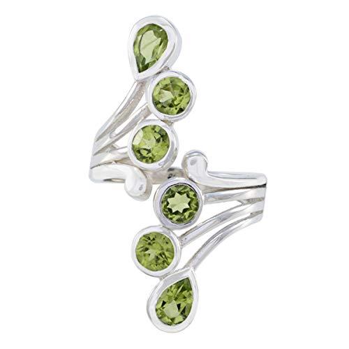 joyas plata anillos de peridoto facetados de múltiples formas de piedras preciosas naturales - anillo de peridoto verde de plata de ley 925 - nacimiento de agosto leo