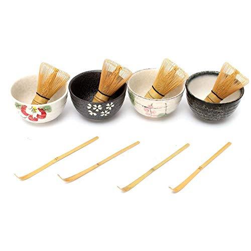 4 Style Fine Japanese Ceremony Keramikschale mit Bambus Schneebesen Scoop Teaware Tool Set für Kaffee und Tee
