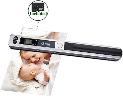 [Handscanner] 900DPI Auflösung s/w und Farbe Dokumentenscanner/Portable Scanner/Wireless Tragbarer A4 Scanner mit Karte JPG und PDF Format- 16G Micro SD - Silber