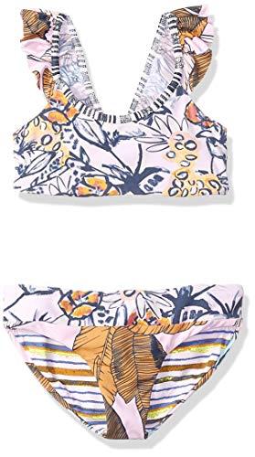 Maaji Mädchen Flutter Sleeve Bikini Swimsuit Set Zweiteiliger Badeanzug, Girly Samba Pink Flower, 38 DE