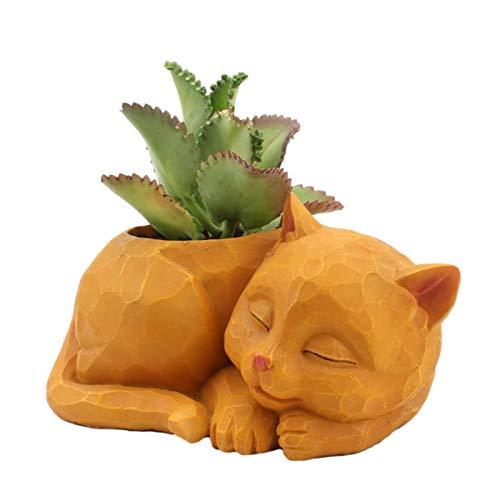 longchun east Maceta Suculenta De Resina, Maceta con Forma de Gato Creativo Maceta Forma de Animal Adecuado para El Hogar Oficina Decoración Jardín Baño Cocina Balcón (Sin Planta)