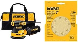 "DEWALT DWE6421K Random Orbit Sander Kit, 5"" with DEWALT DW4301 5-Inch 8 Hole 80 Grit.."