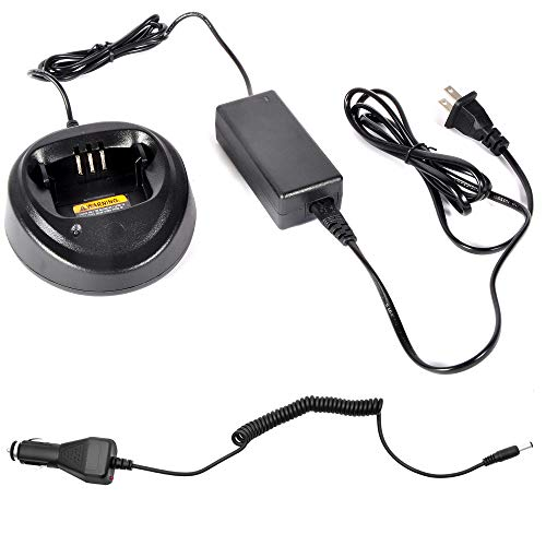 Heyrtz WPLN4137 PMP4137A Charging Station Car Charger,Two-Way Radio Rapid Battery Charger Base with 100V-240V Power Adapter for Motorola CP040 CP140 CP150 CP160 CP180 CP200 EP450 PR400 Walkie Talkies