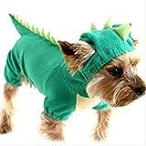YMKWQF Ropa para Mascotas Ropa Divertida para Perros Mascota Dragón Cachorro Abrigo Ropa De Dinosaurio Sudaderas con Capucha De Peluche Chihuahua Jersey Ropa para Perros Pequeños Disfraz XS Verde