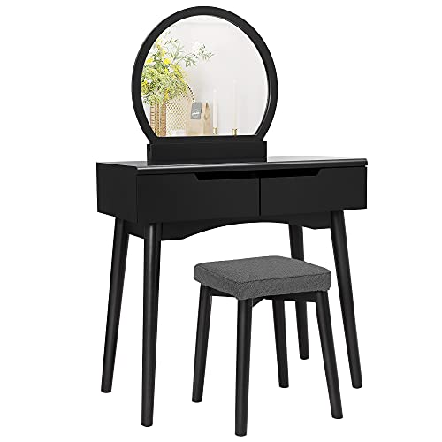 VASAGLE Vanity Set, Makeup Dressing Table with Round Mirror, 2 Large Drawers with Sliding Rails,...