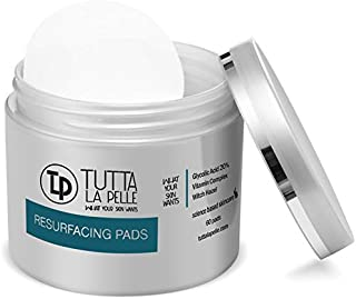 Glycolic Acid Pads 20% AHA Resurfacing Acne pads | Reduces Acne Breakouts Fine Lines Wrinkles | Exfoliating Pads For Face With Vitamins A, C, E, Green Tea, CoQ10 to nourish & calm the skin | 60 Pads