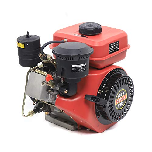 TBVECHI Engine 196CC Diesel Engine 4 Stroke Single Cylinder Air- Cooled Recoil, 3000 RPM Horizontal Axis Single Cylinder Air Cooled Machine (Red)
