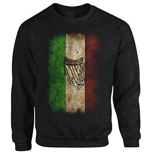 Tex-Ha Ireland Flag Irland Fahne Dublin schwarz Sweatshirt Pullover (XL)