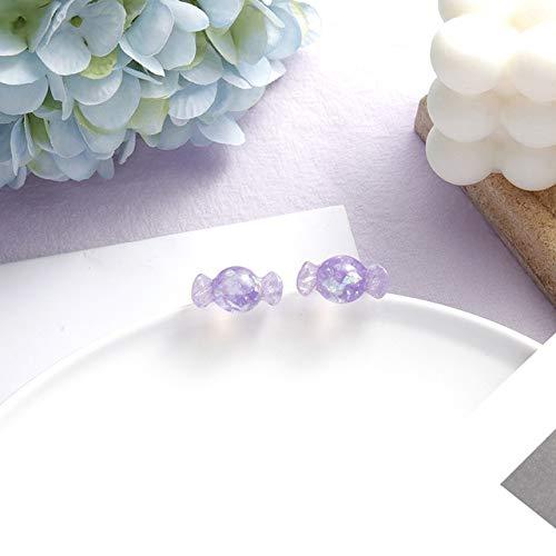 CXWK Korea Purple Geometric Pendant Earrings Multiple Drop Earrings Unique Design Flowers Butterfly Heart Acrylic Dangle Earring