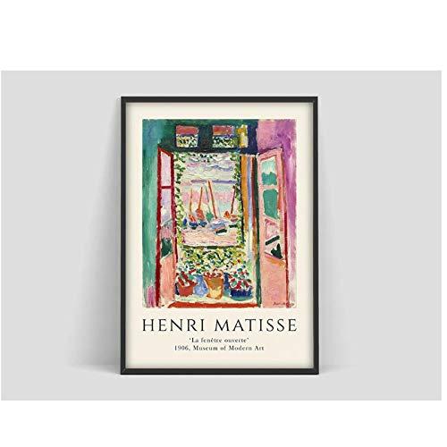 A&D Henri Matisse Das offene Fenster Poster, Matisse Kunstdruck, Matisse Kunstausstellungsplakat, Matisse Fishbowl Poster, Henri Matisse -50x70cmx1pcs -Kein Rahmen