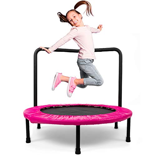 PTPEPL Kids Folding Trampoline 36 Inch Pink Mini Trampoline with Safty Padded Cover for Children Play&Exercise Indoor or Outdoor, Durable Design Withstand Up to 140lbs with Handrail for Toddlers