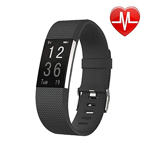 ANLW Fitness Tracker, Bluetooth Slim Smart Bracelet IP67 Waterproof Watch Heart Rate Monitor, Tracker Pedometer mit Sleep Monitor Step Calorie Watch,Black
