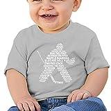 NozzFlux Typographic Eishockey Baby T-Shirt Unisex Baby Klettern Kleidung Bodys Strampler Kurzarm Leichte Onesies Schwarz Gr. 2 Jahre, grau