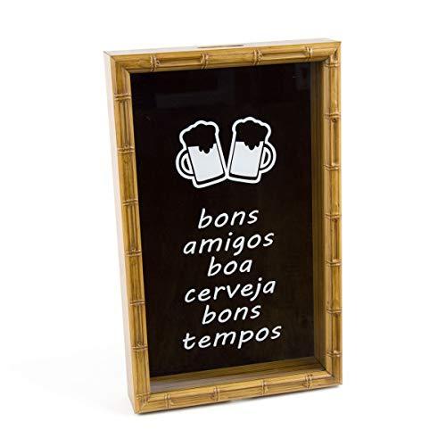 Quadro Porta Tampa de Cerveja Bambu Bons Amigos Boa Cerveja Bons Tempos Rojemac Marrom Ferro
