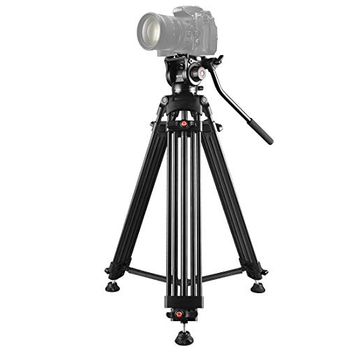 WEIHONG Digital Professional Heavy Duty Video Camcorder Aluminum Alloy Tripod with Fluid Drag Head for DSLR/SLR Camera, Adjustable Height: 80-160cm WEIHONG (Color : Black)