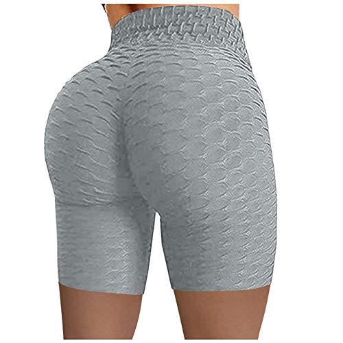 Keepwin Leggins Push Up Mujer Pantalones Cortos Yoga Mujer Mallas de Deporte de Mujer Elásticos Cintura Alta Pantalon para Running Gym Fitness (Gris, Small)