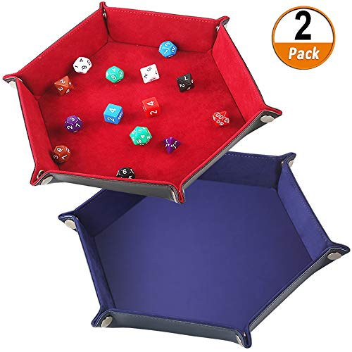 Kulannder Dice Tray Folding Hexagon PU Doppio Lato Dice Tray Dice Rolling Tray Velluto Dadi Holder per Rpg DND Altri Giochi da Tavolo e da Tavolo Vass