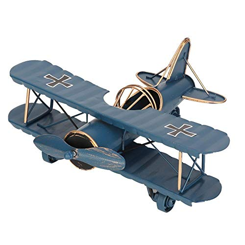 Biitfuu Retro Flugzeug Modell Metall Doppeldecker Flugzeug Flugmodelle für Zimmer Desktop Dekoration Great Souvenir(Blau)