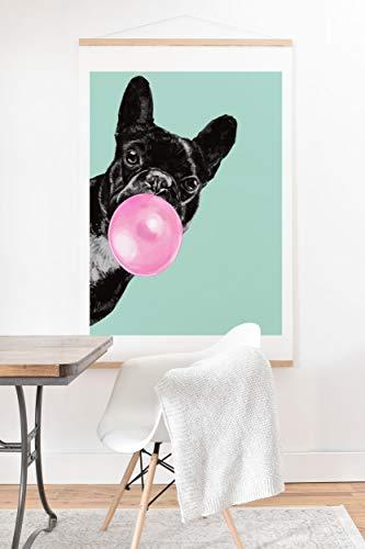 Society6 Big Nose Work Bubblegum French Bulldog Art Print & Hanger, 12' x 12', Blue