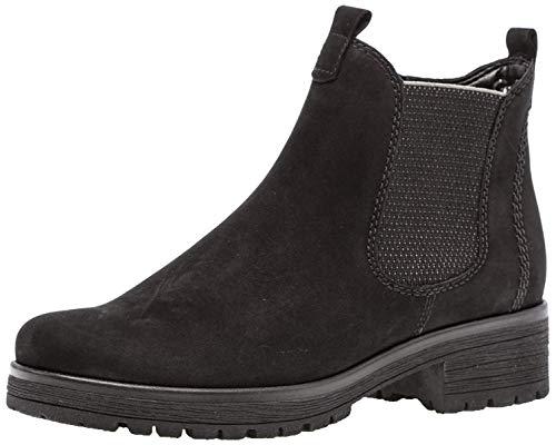 Gabor Damen Chelsea Boots 32.091, Frauen Stiefelette,Stiefel,Halbstiefel,Bootie,Schlupfstiefel,flach,schwarz (Micro),42 EU / 8 UK