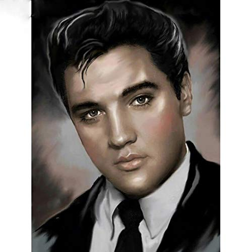 ZHUTU 5D DIY diamantschilderij mozaïek zanger Elvis Presley borduurwerk kruissteek hars pak moderne decoratie vol ronde diamant (15.8x19.7inch)