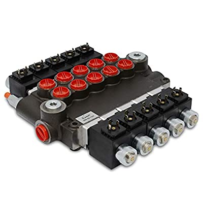 Hydraulic Monoblock Solenoid Directional Control Valve, 5 Spool, 21 GPM, 12V DC from Summit Hydraulics