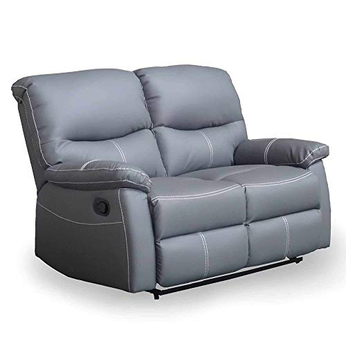 Sofá de 2 plazas Relax manual de piel sintética gris Dina