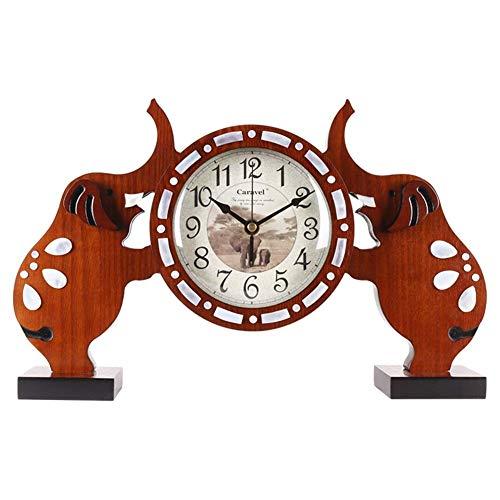 -lamp Mantel Clock, Kleine Olifant bureauklok Houten Zaal Time Clock Slaapkamer Nachtlampjes Mute tafelklok r alarm clock