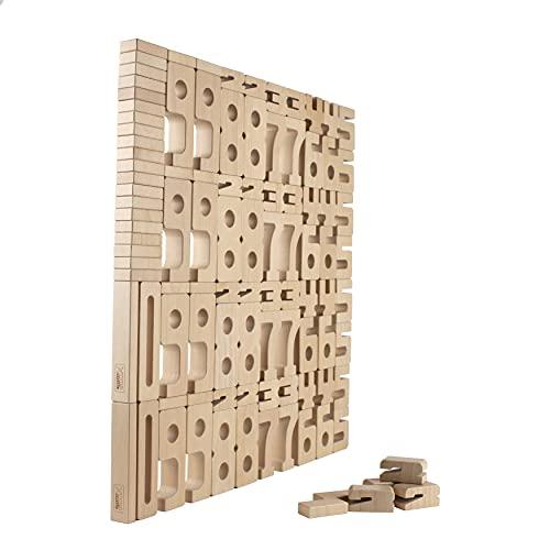 SumBlox Holz Bausteine - 110 große lackierte Bausteine - mit Übungskarten - Optimal für Schulklassen und größere Gruppen