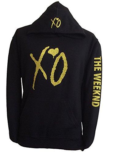 XO The Weekend Hoodie Hooded Sweatshirt Gold Glitter Design Sweatshirt (L)