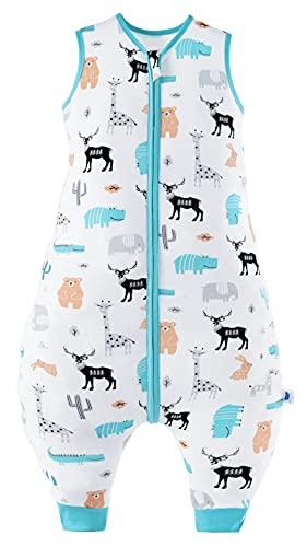 Chilsuessy Baby Schlafsack Sommer mit Füßen 0.5 Tog 100% Baumwolle Kinder Sommerschlafsack für Jungen und Mädchen, Wilder Zoo, 100cm/Baby Höhe 110-120cm