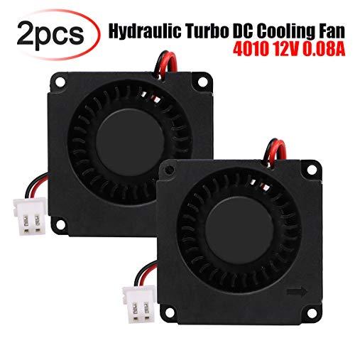 Innovateking-EU Ventilador de CC sin escobillas 2pcs 40 x 40 x 10 mm 4010 12V 0.08A Ventilador de Impresora 3D Ventilador hidráulico Turbo con Cable XH2.54-2P para Impresora 3D