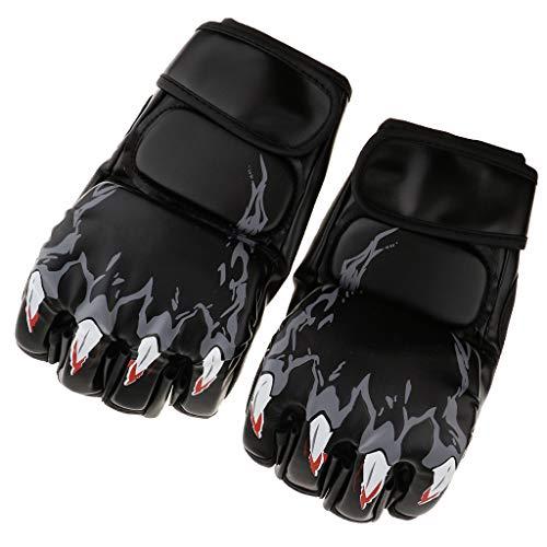 perfk Frauen Männer Boxhandschuhe Halbfinger Handschuhe Schutzhandschuhe für Boxen Training Sandsack Boxsack Freefight Kampfsport - Schwarz