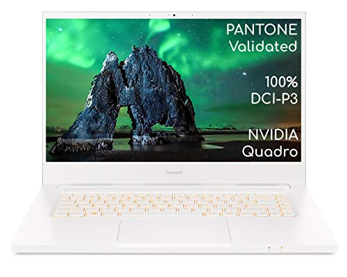 Acer ConceptD 3 Pro CN315-72P 15.6 Inch Creator Laptop (Intel Core i7-10750H, 16GB RAM, 1TB SSD, NVIDIA Quadro T1000, Full HD Display, Windows 10 Pro, White)