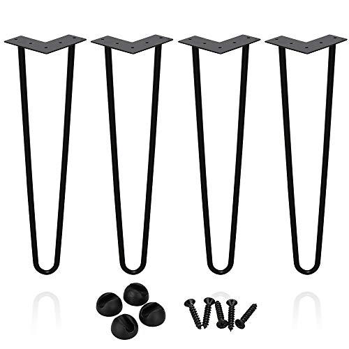 4 Stück Haarnadel Tischbeine BMOT Möbelfüße Metall Tischgestell Haarnadelbeine Möbelbein Austauschbare Möbelfüße für Esstisch Couchtisch Schreibtisch Arbeitstisch Durchmesser 12 mm Schwarz