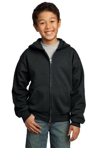 Port & Company® - Youth Core Fleece Full-Zip Hooded Sweatshirt. PC90YZH Jet