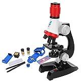 Deror Kinder Mikroskop, 100X-400X-1200X Kinder Kinder Mikroskop Set LED Biologisches Mikroskop Pädagogisches Spielzeug(rot)