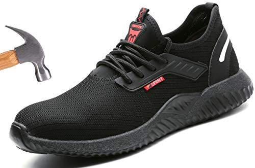 Ucayali Zapatos de Seguridad Hombre Trabajo Comodos Ligeros Transpirables Zapatillas Trabajo Seguridad Deportivo Punta de Acero para Electricista Soldador Construccion Verano(015 Negro, 40 EU)