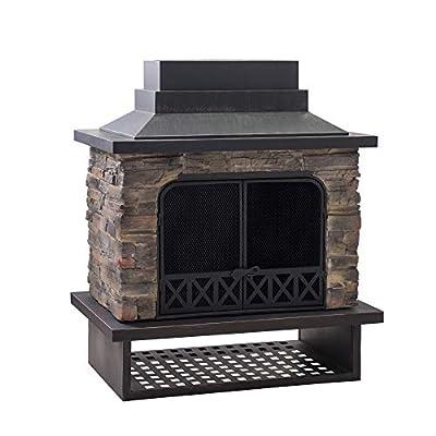 Sunjoy A304001100 Gwendolyn Wood Burning Fireplace, Black