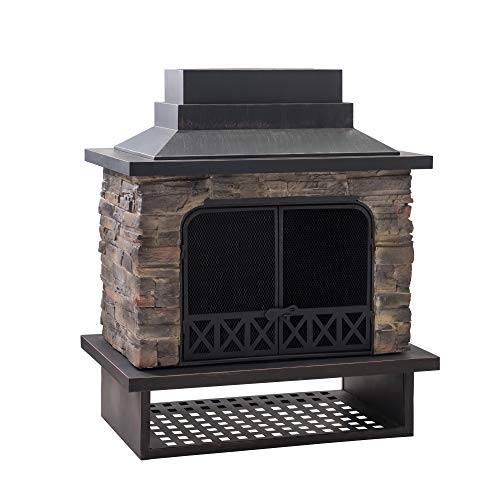Cheap Sunjoy A304001100 Gwendolyn Wood Burning Fireplace, Black