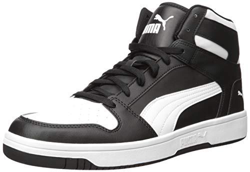 PUMA mens Rebound Layup Sneaker, Black/White, 10.5 US