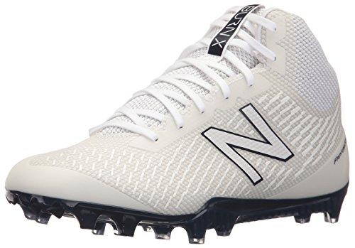 New Balance Men's Burn X Mid-Cut Lacrosse Shoe, White/Blue, 11.5 D US