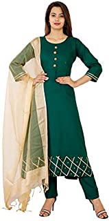 EXPORTHOUSE Women Royan Salwar Suit with Pant 3/4 Sleeve Round Neck Solid Plain Kurti with Organza Dupatta