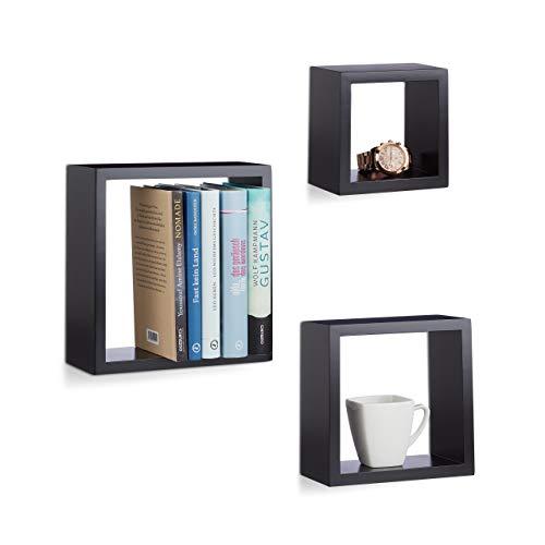 Relaxdays Hängeregal Würfel 3er Set, Wandboard Cube, Schweberegal quadratisch, MDF, klein, verschiedene Größen, schwarz
