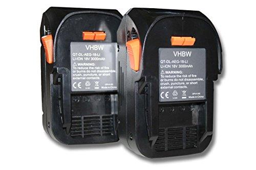 vhbw 2x Batería reemplaza Würth 0700956530 para herramientas eléctricas (3000mAh Li-Ion 18V)